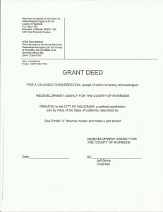 Grant Deed issued June 22,2009 by the Riverside County Board of Supervisors