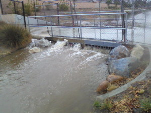After the bridge, water forced over due to accumulation of debris.
