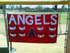 A team banner. The other team was the Padres.