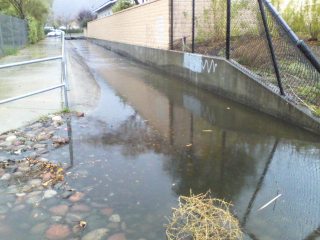 Water enters park from Trailwood Court during recent rain event