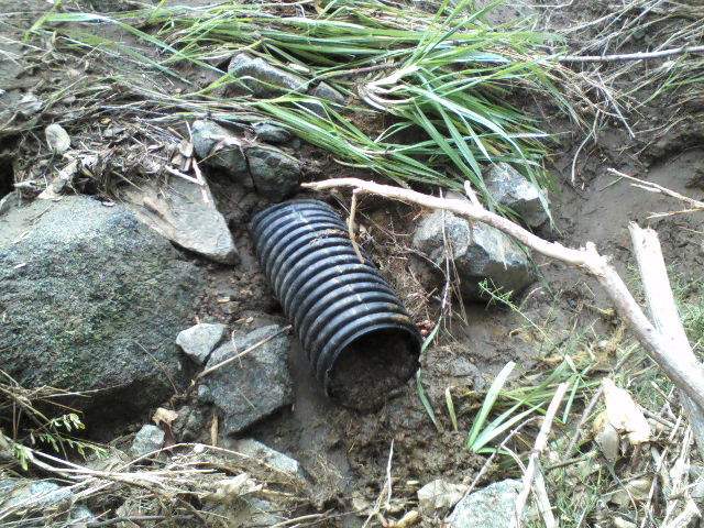 This pipe leads back to the Tot-Lot and is still weeping water days later