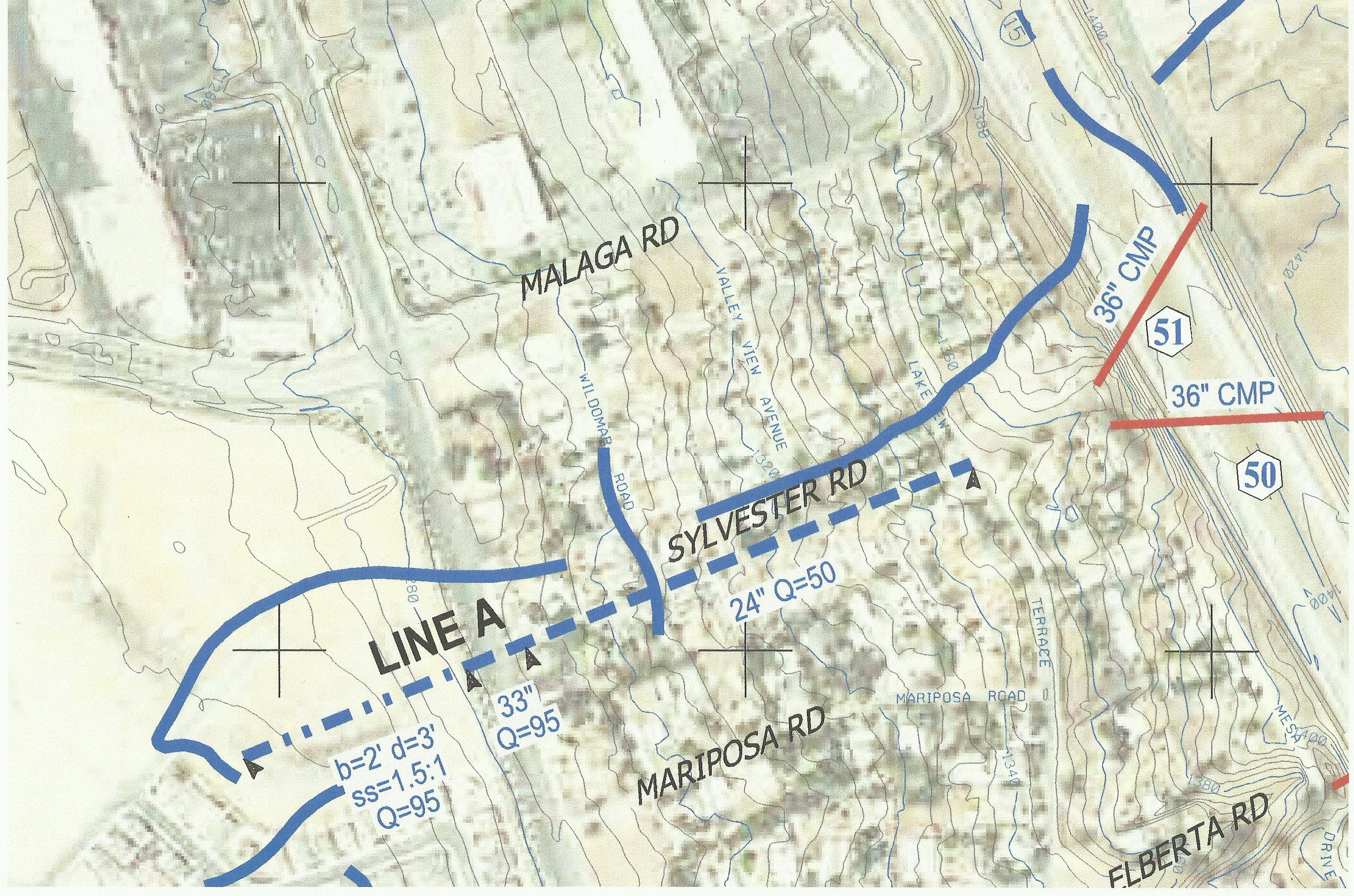 This is a digital map of Line A