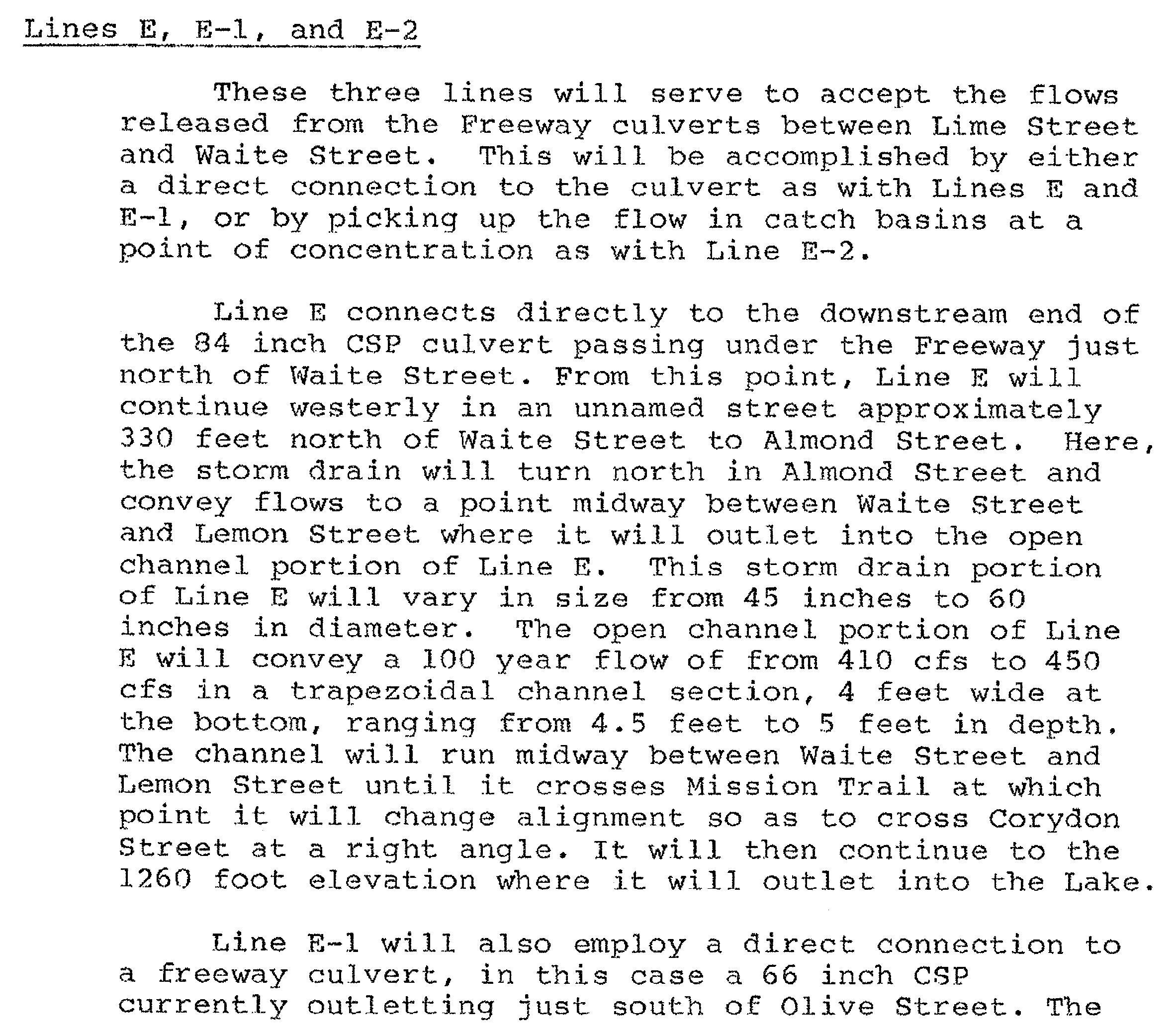 First Section explaining Line E, E-1 and E-2
