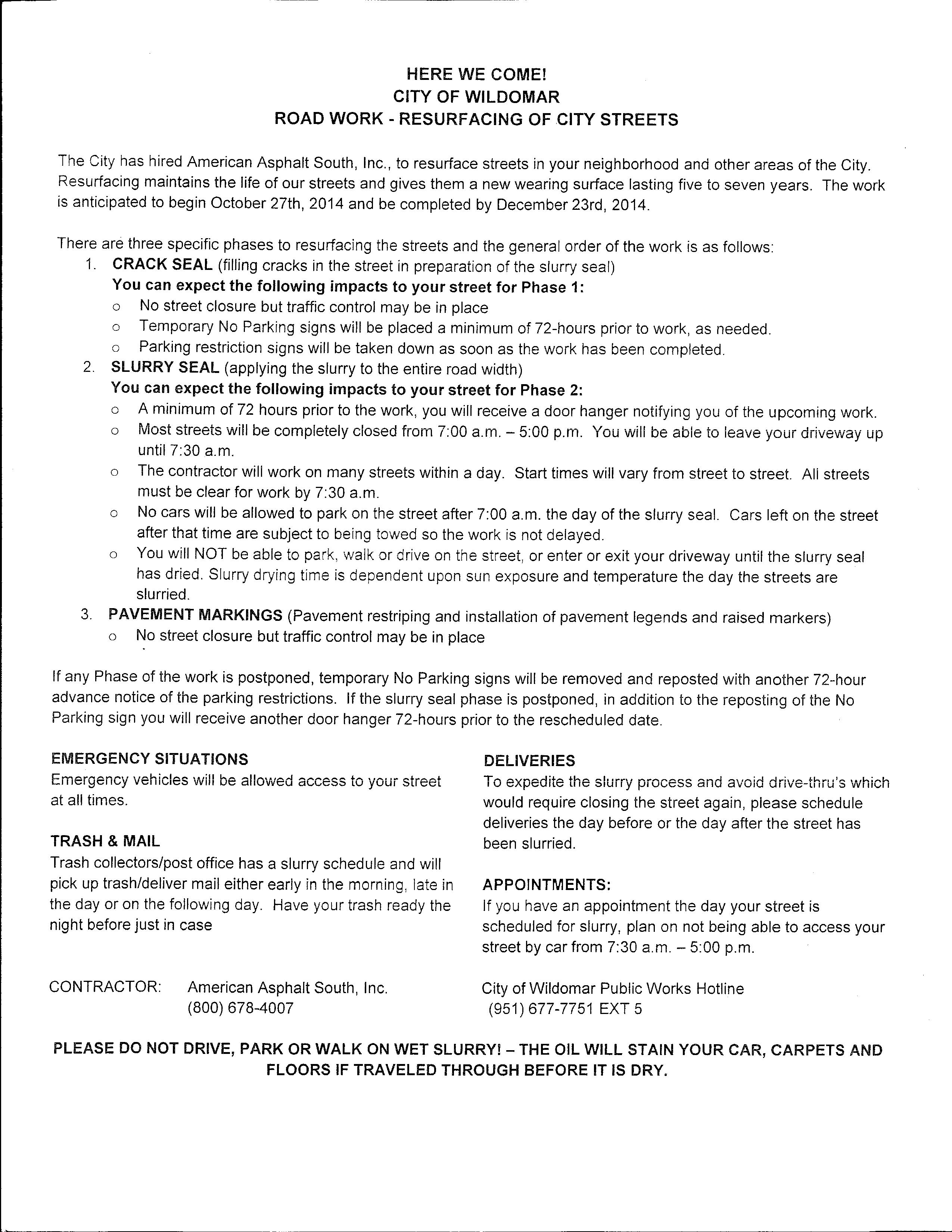 This notice was received by residents on November 14, 2014