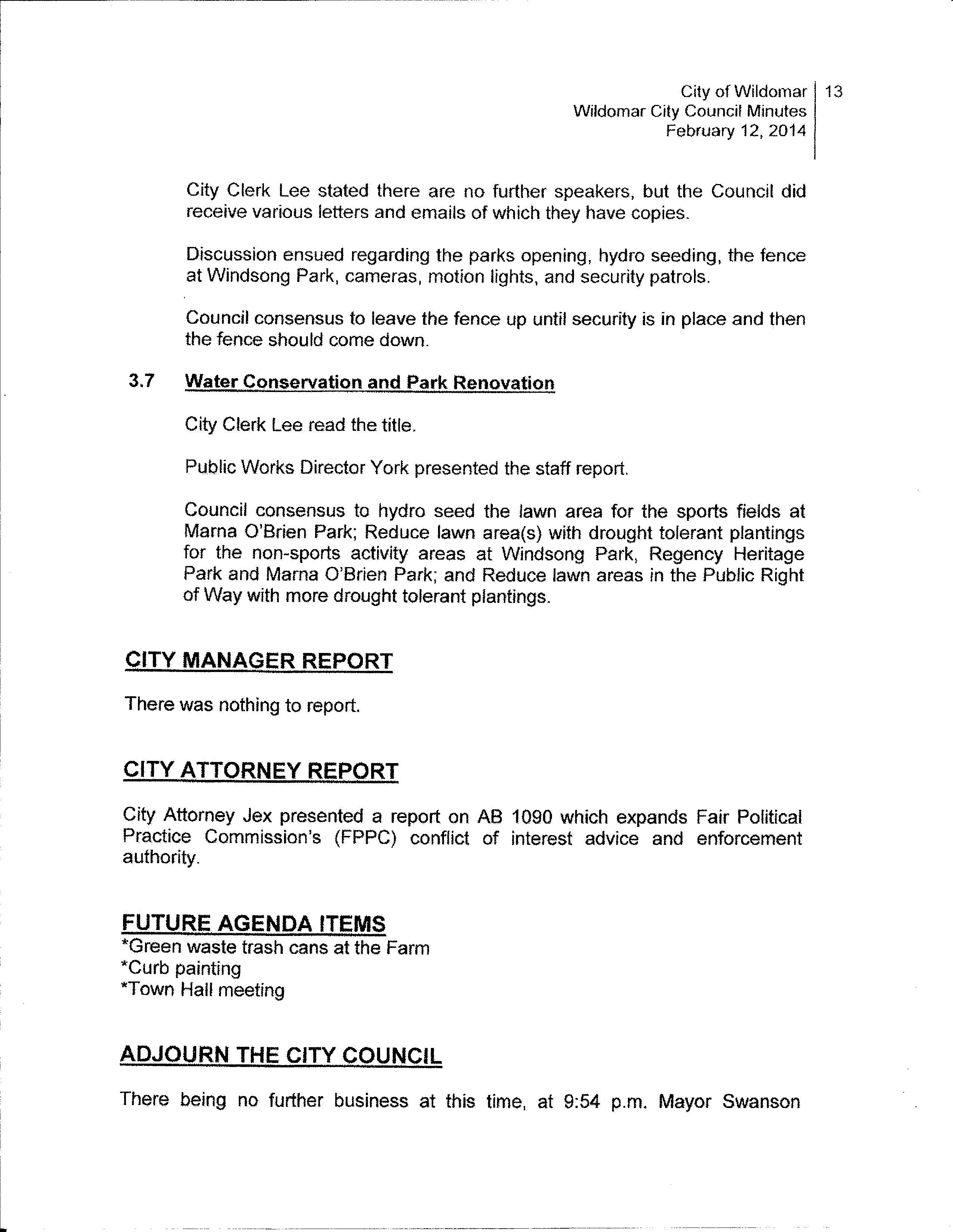 Wildomar City Council Minutes