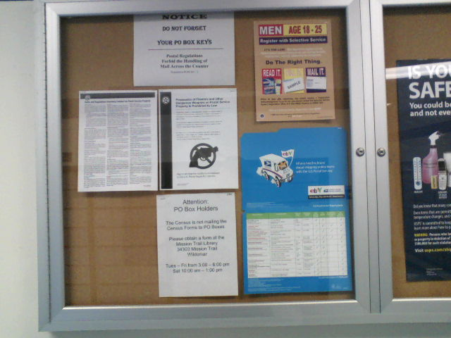 Bulletin board at U.S. Post Office. There are three of these