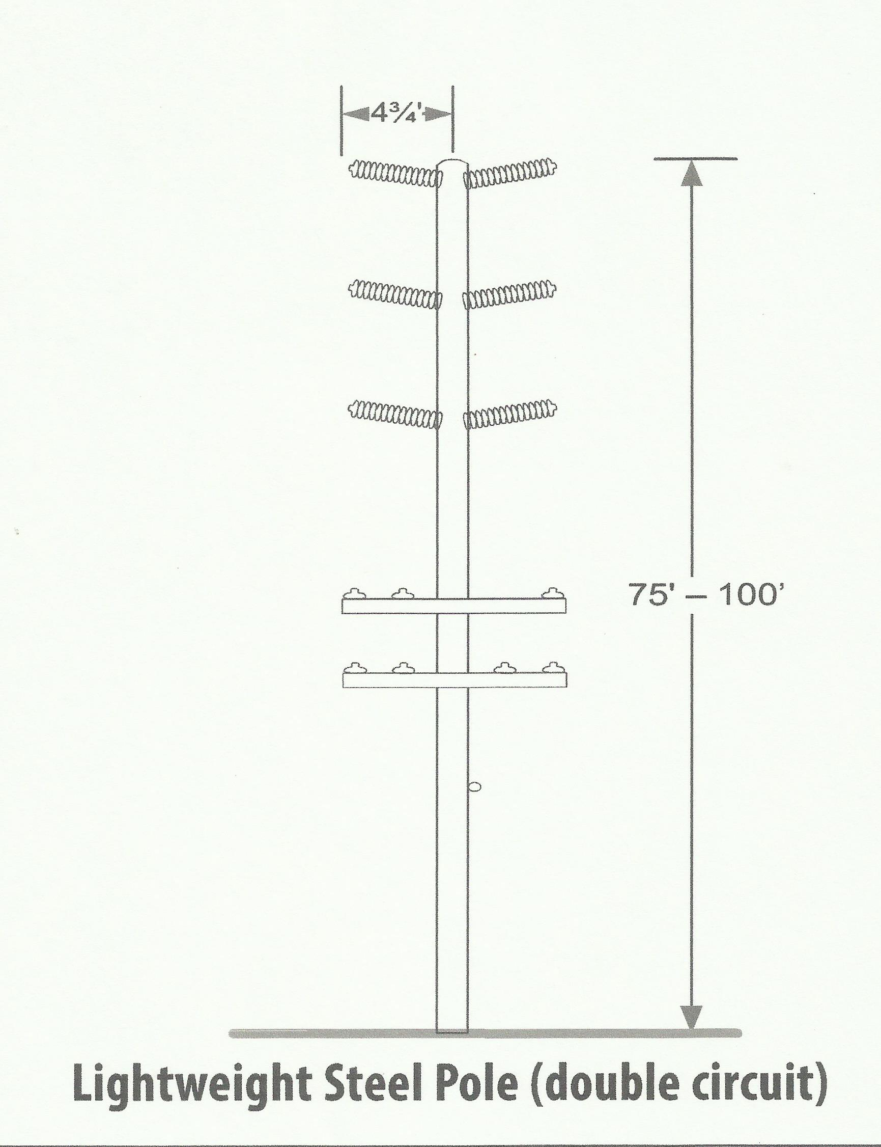 Drawing of Lightweight Steel Pole (LWS) to be used for project.