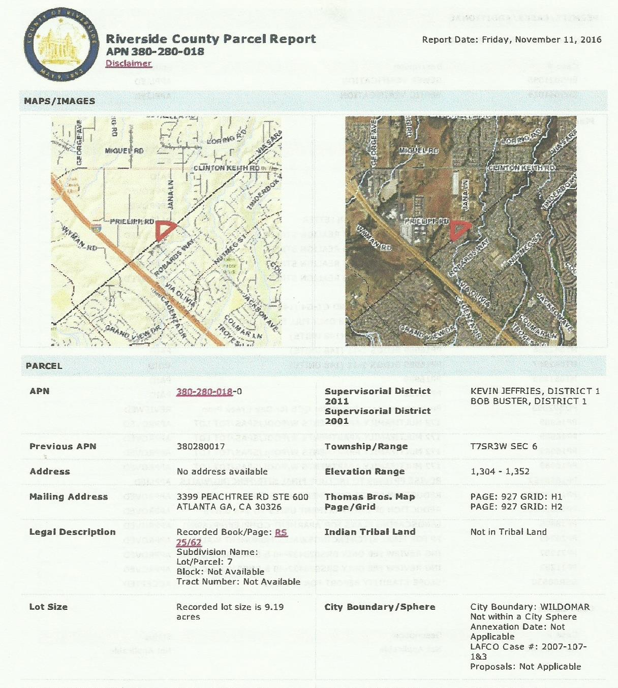 County of Riverside Geographic Information System (GIS) Assessor's Parcel Number Report (APN)
