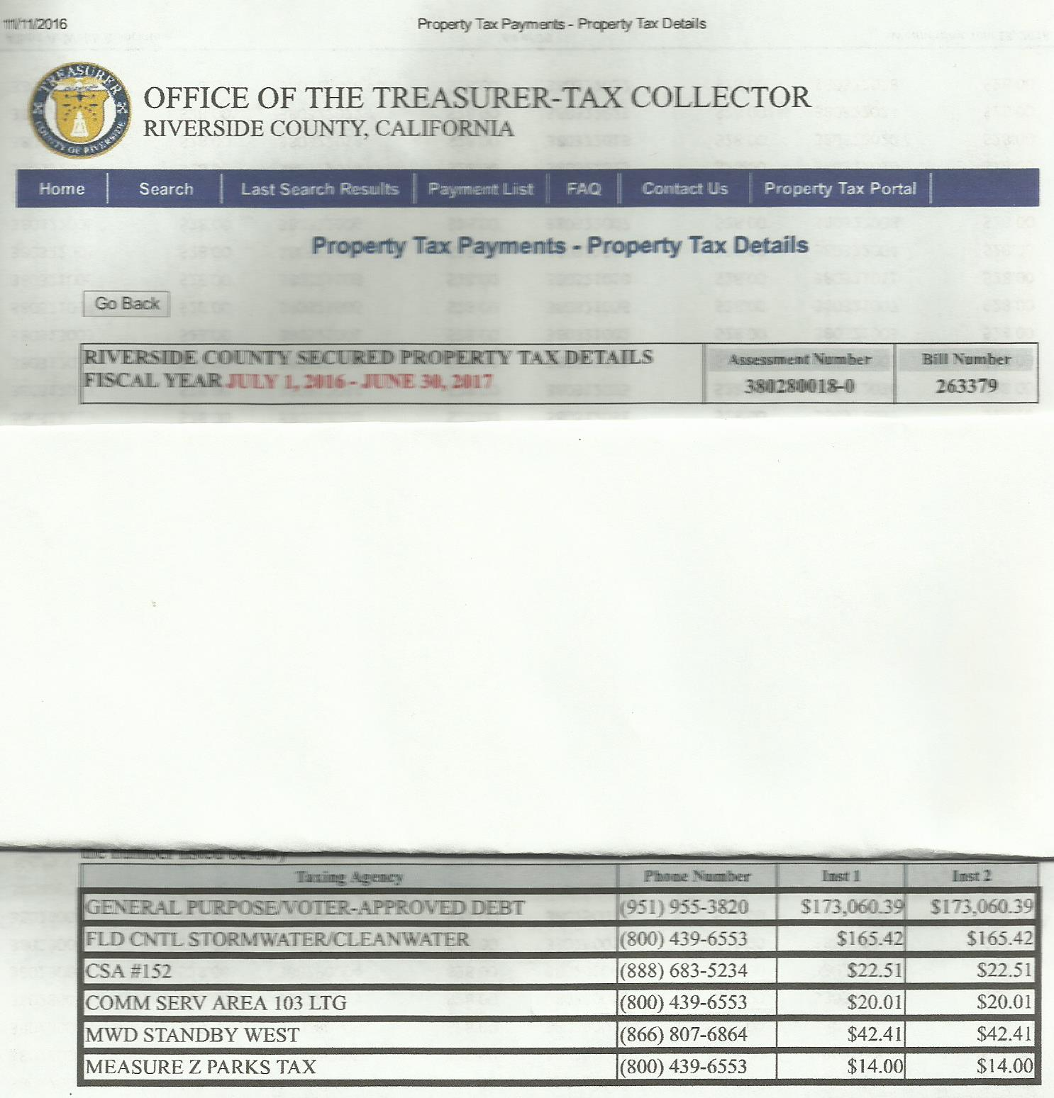 Tax Bill for Gables Oak Creek Apartments. notice the Measure Tax at the bottom.