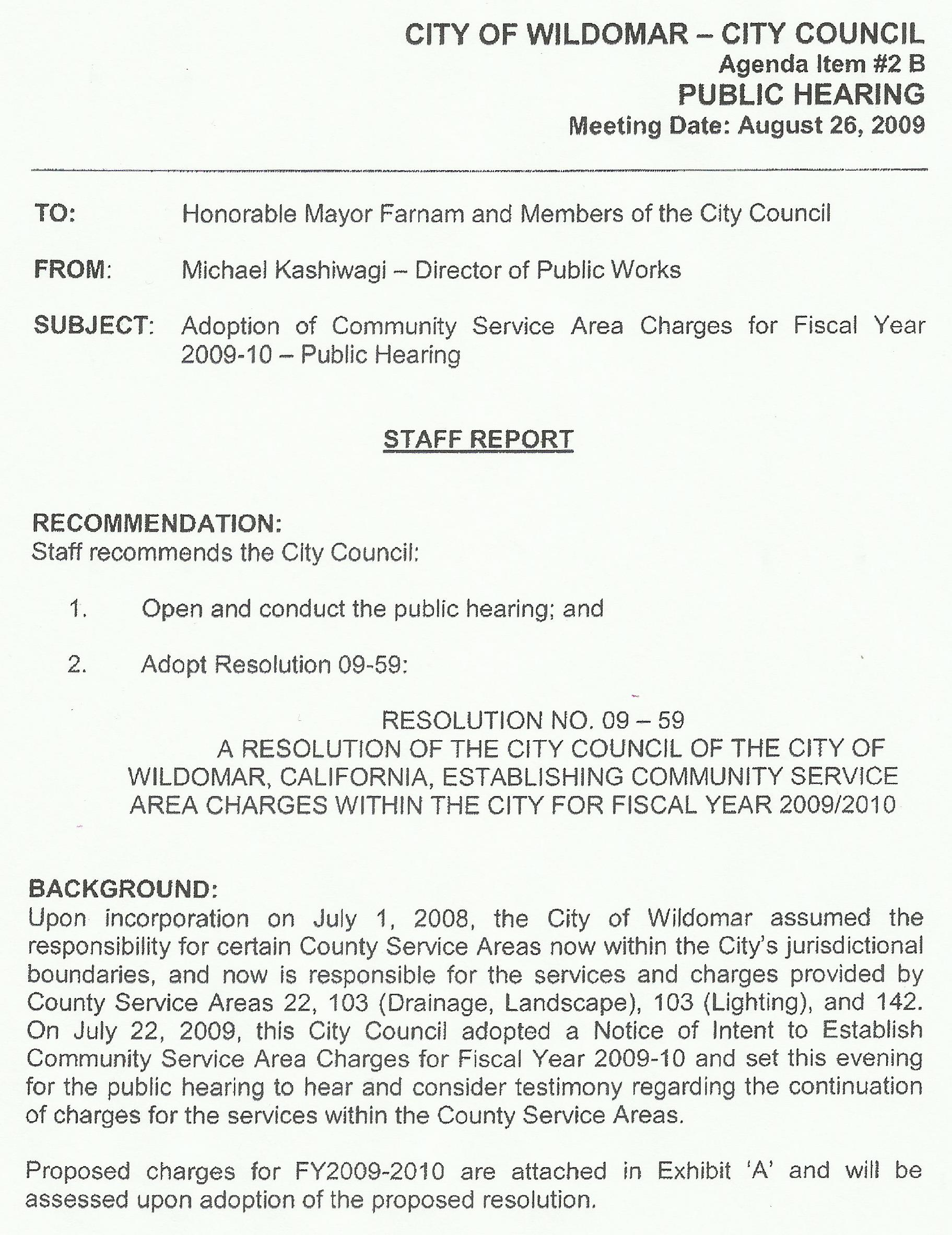 Resolution 09 59 That Established The Charges For CSA 103 Drainage/Landscape